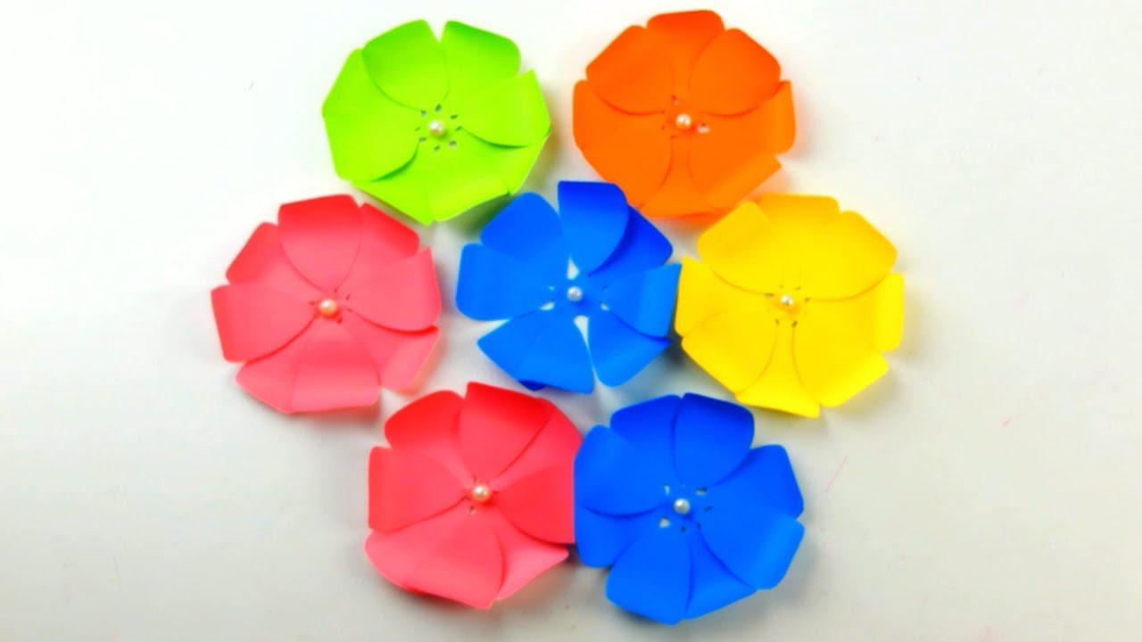 How To Make A Flower With Paper Very Easy Simple Paper Crafts