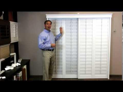 plantation shutters on a sliding glass door