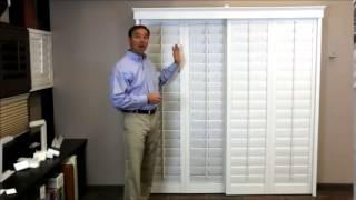 plantation shutters on a sliding glass