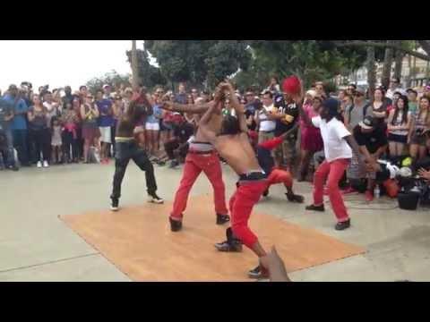 Dance crew in Santa Monica. Unbelievable.