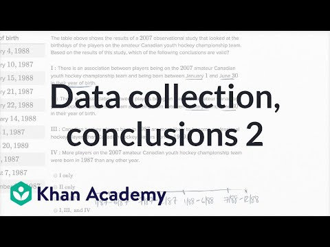 Data Collection And Conclusions — Harder Example | Math | New SAT | Khan Academy