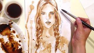 Spped drawing: coffee portrait (как рисовать с помощью кофе портрет)