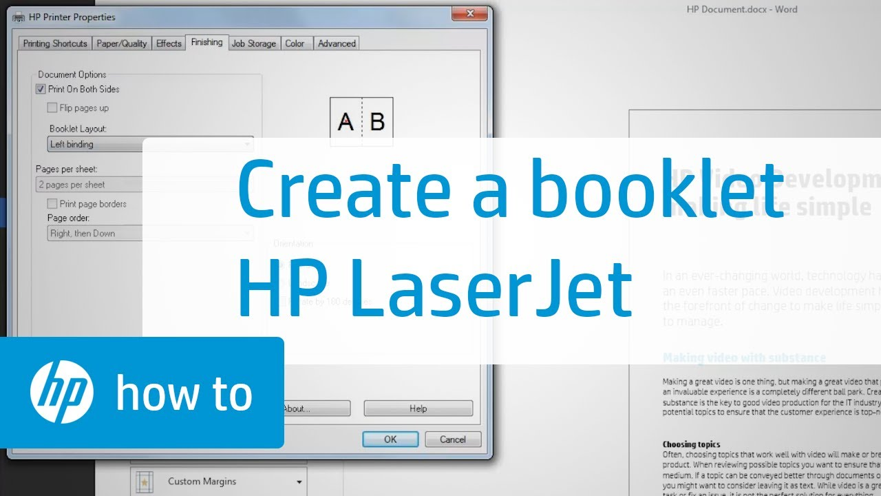 Creating a Booklet with an HP LaserJet Printer - YouTube