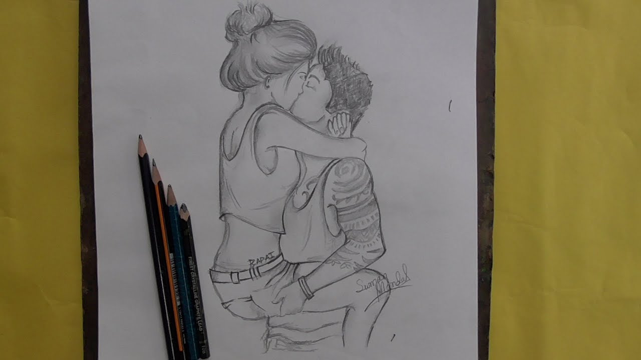 How to draw a lovers couple full love romantic scene drawing by drawing art beginners