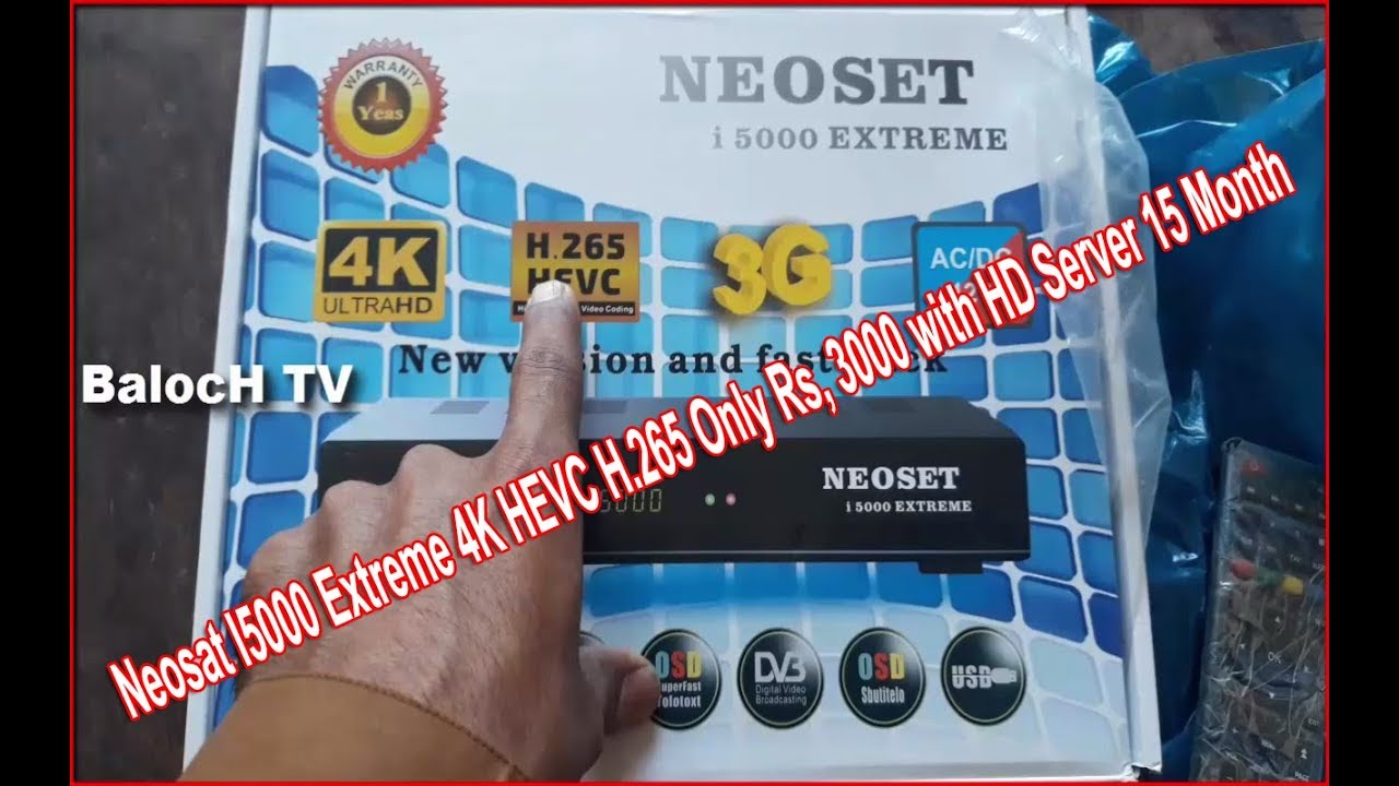 Neosat I5000 Extreme 4K HEVC H 265 Only Rs, 3000 with HD Server 15 Month  Urdu/Hindi