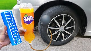 FANTA vs MENTOS in a CAR TIRE