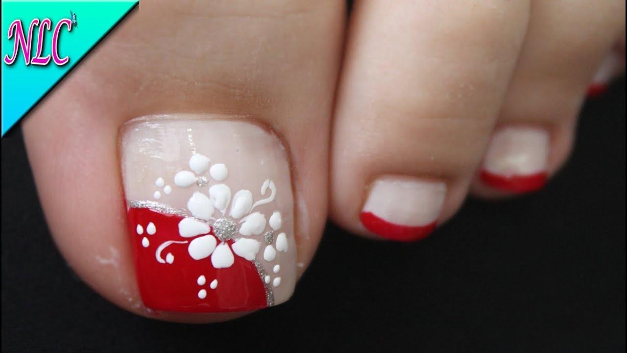 Diseño De Uñas Para Pies Flor En Blanco Y Rojo Principiantes Flowers Nail Art Nlc