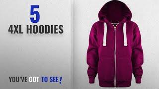 Top 10 4Xl Hoodies [2018]: New Ladies Womens PLUS SIZE Plain Zip Hoodie UK SIZE 8-28