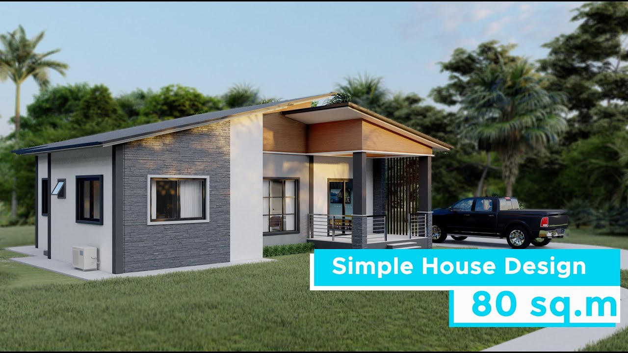A Simple House Design 3 Bedroom House 80 Square Meters Youtube