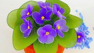 как сделать цветы из капроновых колготок