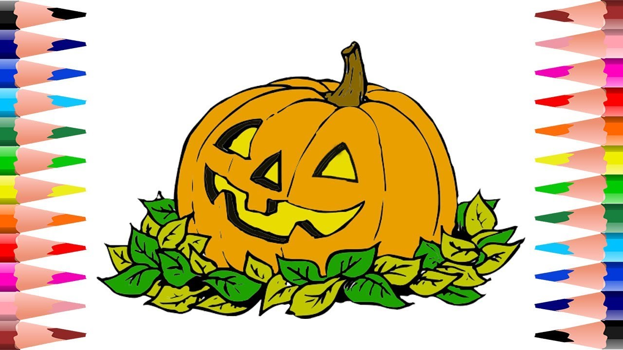How to Paint Pumpkin Halloween Coloring Pages - Coloring Pumpkin in ...