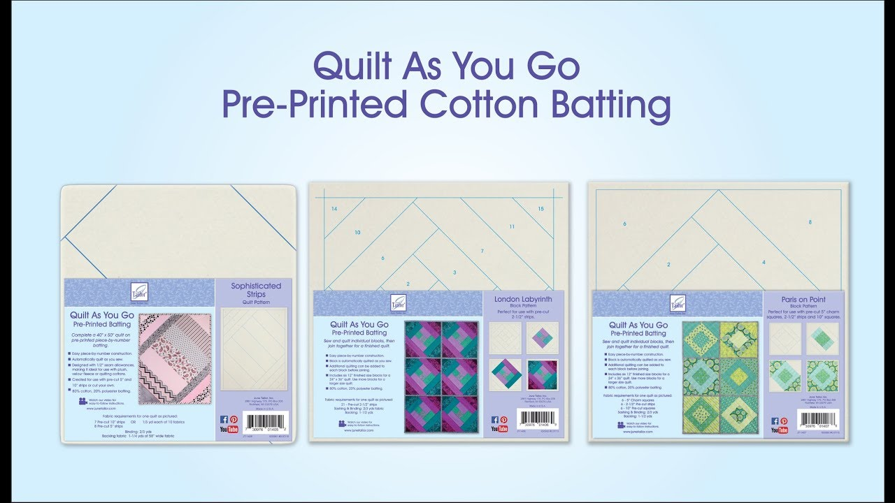 Quilt As You Go, Pre-Printed Cotton Batting - YouTube : cotton theory quilting video - Adamdwight.com