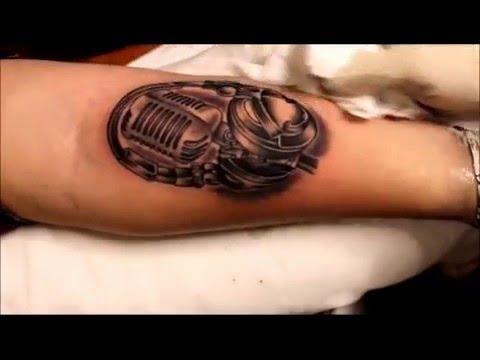 Tattoo  microphone & headphones  by Angel's Art