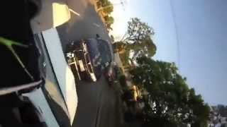 Motorcyclist Hit From Behind Lands On Car Roof