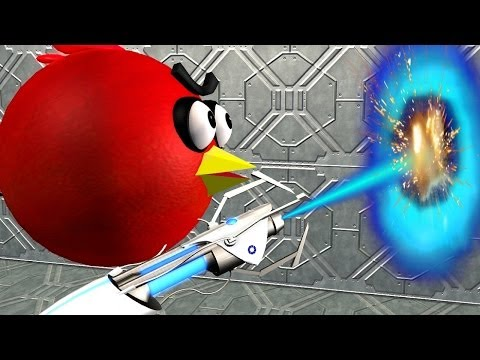 ANGRY BIRDS in a PORTAL 2 game ♫ 3D animated  game mashup  ☺ FunVideoTV - Style ;-))