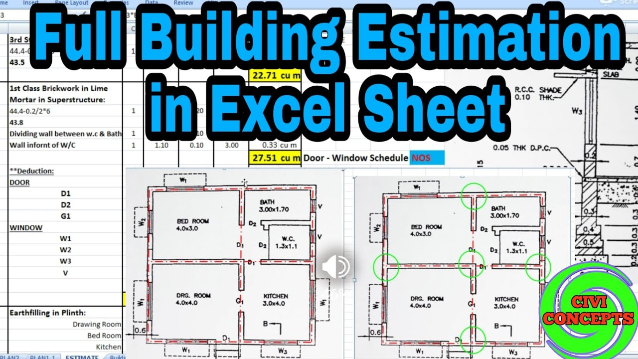 Full Building Estimation in Excel sheet