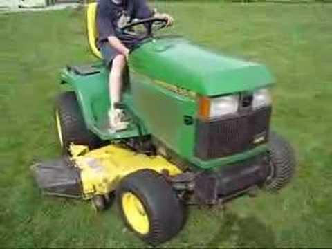 John Deere 455 diesel lawn tractor all wheel steering YouTube