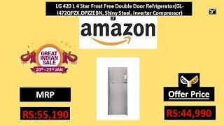 LG 420 L 4 Star Frost Free Double Door Refrigerator(GL-I472QPZX.DPZZEBN, Shiny Steel)