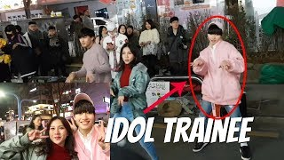 BUSKING WITH IDOL TRAINEE IN KOREA!