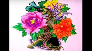 Рисунок эскиза Японского Карпа. Japanese tattoo carp