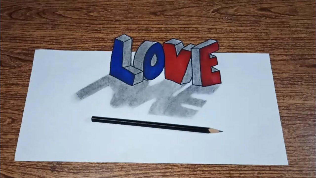 tutorial cara menggambar 3d tulisan LOVE - Simple drawing tutorial