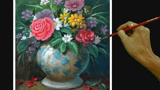 Acrylic Painting Tutorial Still Life with Flowers on Flower Vase Easy and Basic for Beginners