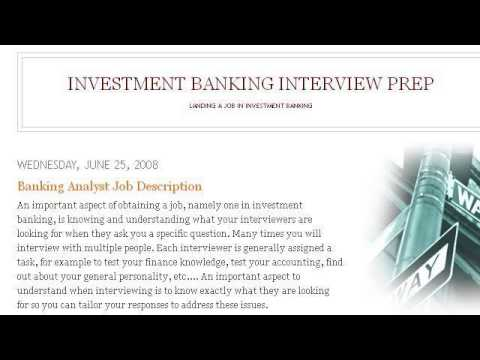 The Job Description Of An Investment Banking Analyst YouTube – Investment Banker Job Description