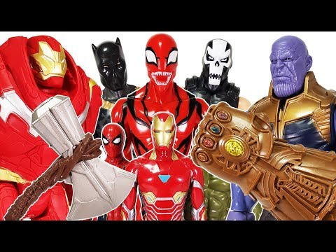 Thanos Gauntlet vs Avengers Power FX Hulk, Spider Man, Thor, Iron Man, Captain America Toys Play