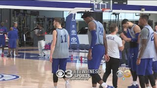 Joel embiid takes part in 5-on-5 scrimmage