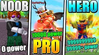 NOOB VS PRO VS SUPERHERO - ROBLOX SUPER POWER TRAINING SIMULATOR VERSION *EPIC!*