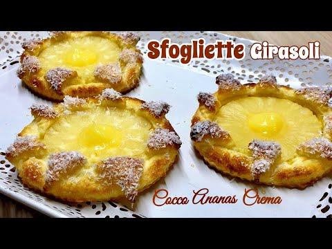 SFOGLIE GIRASOLI ANANAS CREMA COCCO ricetta veloce PUFF PASTRY SUNFLOWERS