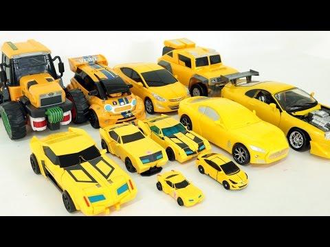 Yellow Color Transformers Carbot Tobot Miniforce Robot Car Toys 노란색 트랜스포머 헬로카봇 또봇  자동차 장난감 변신 동영상