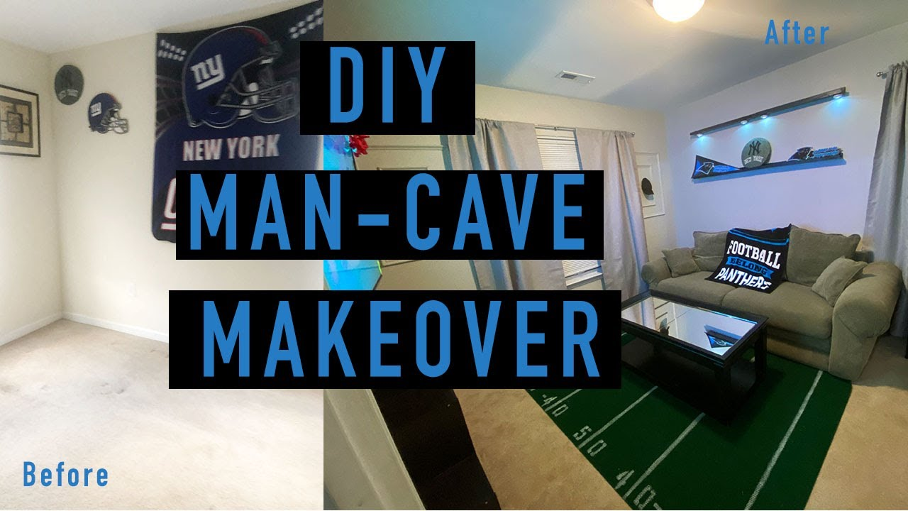 Diy Man Cave Makeover Decorating My Dad S For Father Day Sports Room Ideas Youtube