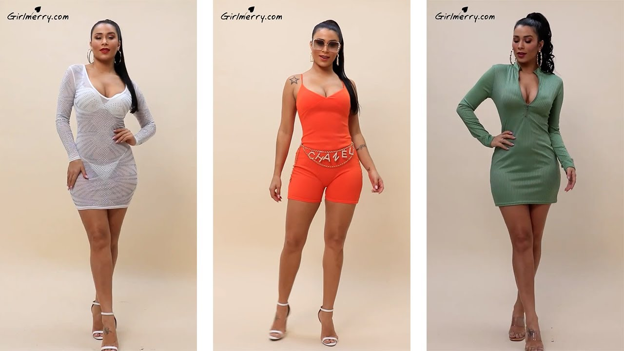 Download Girlmerry - Ray Cavalho   Zip-up solid color tight stretch dress