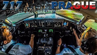 Piloting the BOEING 717 out of PRAGUE