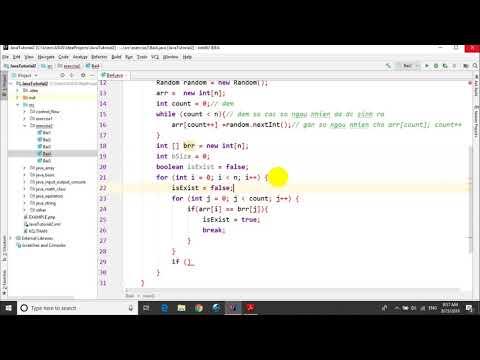 Bài tập Java - Bài 2.4: Mảng ngẫu nhiên-loại bỏ phần tử trùng nhau