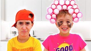 Niki copying Mom for 24 hours challenge