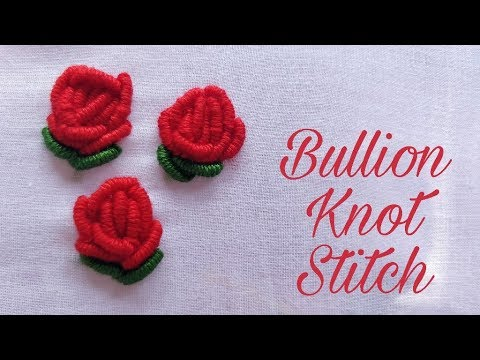 Bullion Knot Stitch Rose (Hand Embroidery Work)