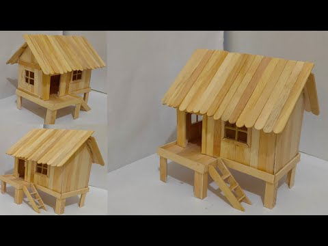 Cara Membuat Miniatur Rumah Panggung Sederhana Dari Stik Es Krim.