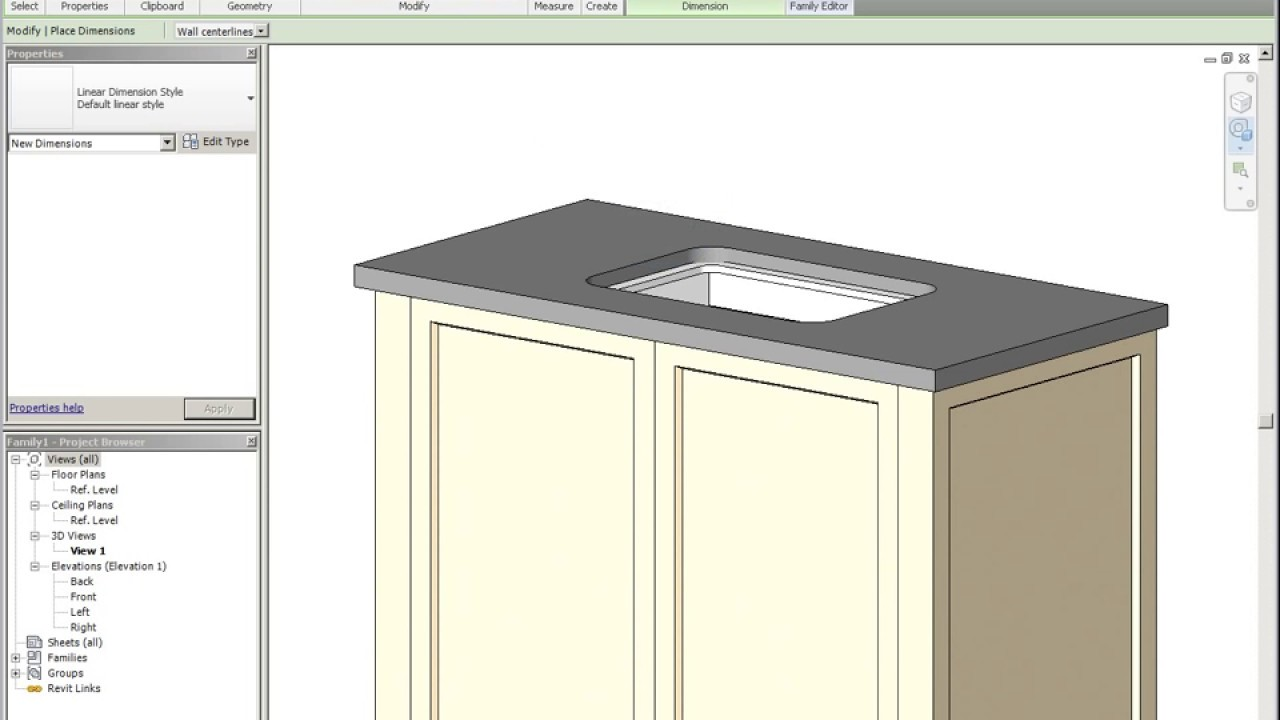 Modeling A Cabinet Family In Revit Youtube
