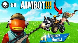 *FAKE AIMBOT* KID THINKS I HAVE HACKS IN *NEW* FORTNITE ONE SHOT *50 KILLS*