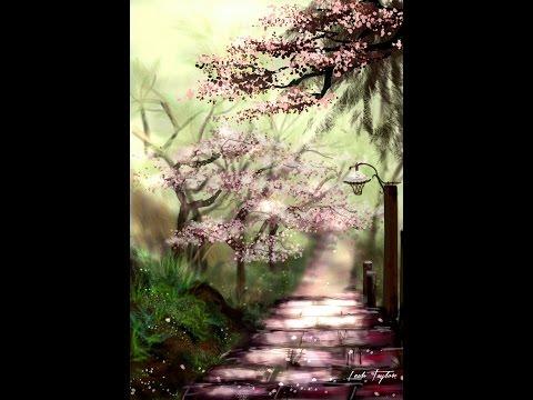 Digital drawing tutorial: Cherry Blossom Garden Path