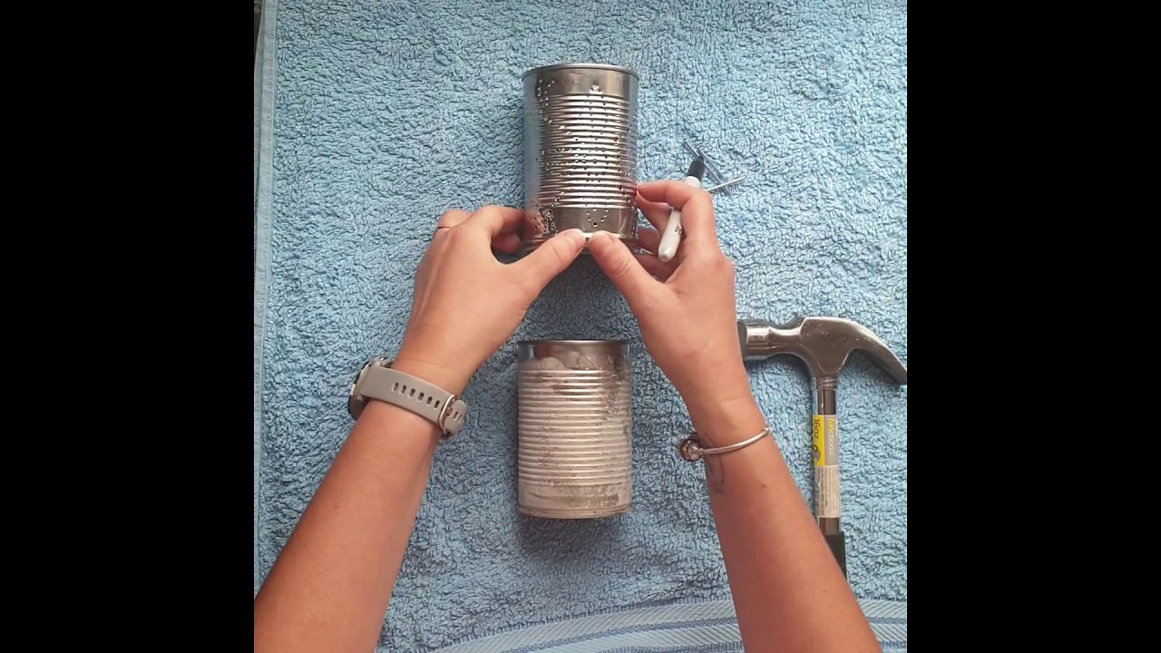 Tin can tealight holders