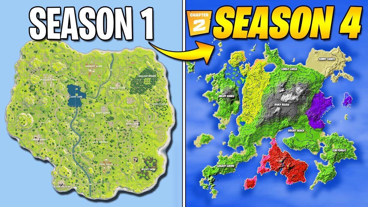 Evolution Of Fortnite Map Season 1 Season 4 Chapter 2 Leaked Youtube