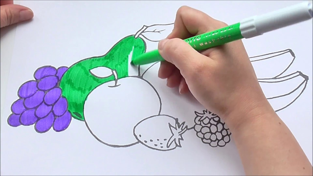 FRUIT CARTOON COLORING BOOK FOR CHILDREN LEARNING FRUITS VIDEO KIDS