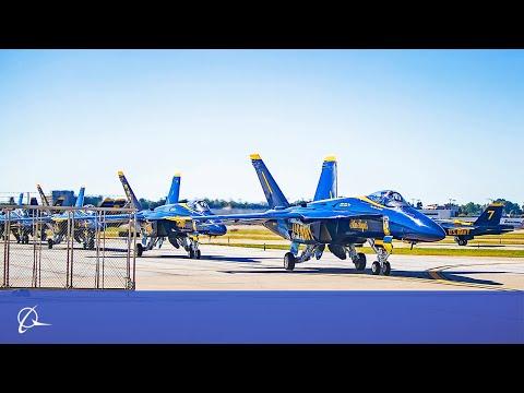 First Blue Angels Visit to Boeing Flying Super Hornets