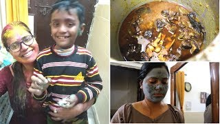 Holika Dahan And Holi Vlog || Simple Mutton curry || After Holi skin Care || Indian daily vlogger ||