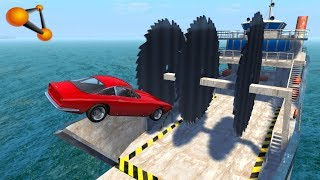 BeamNG.drive - Giant Saw Against Cars Crashes #9