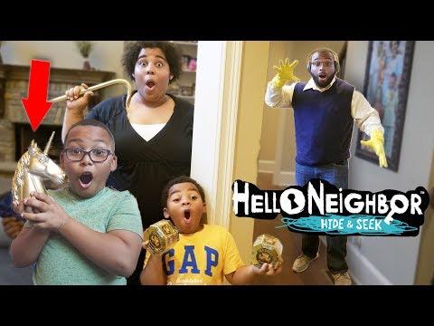 (Finding the Golden Unicorn) Hello Neighbor Hide & Seek in Real Life!