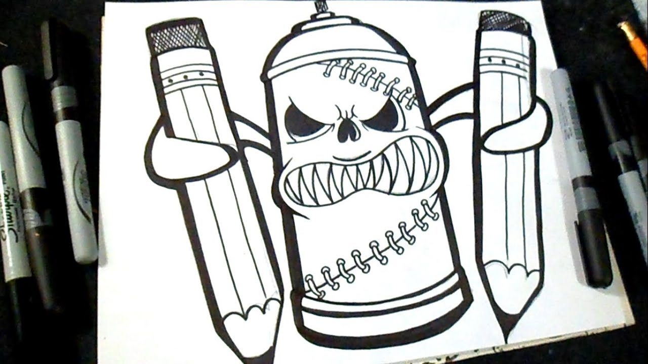 How to Draw Spraycan Graffiti  YouTube